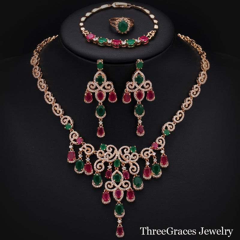 Dubai 18K Gold Plated CZ Diamond Natural Ruby Emerald Crystal Statement Necklace Earrings 4 Piece Jewelry Sets For Wedding JS183<br><br>Aliexpress
