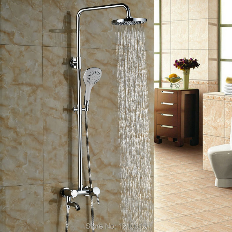Newly Wall Mounted Bath Shower Faucet w/ Handheld Shower Chrome Polished 8