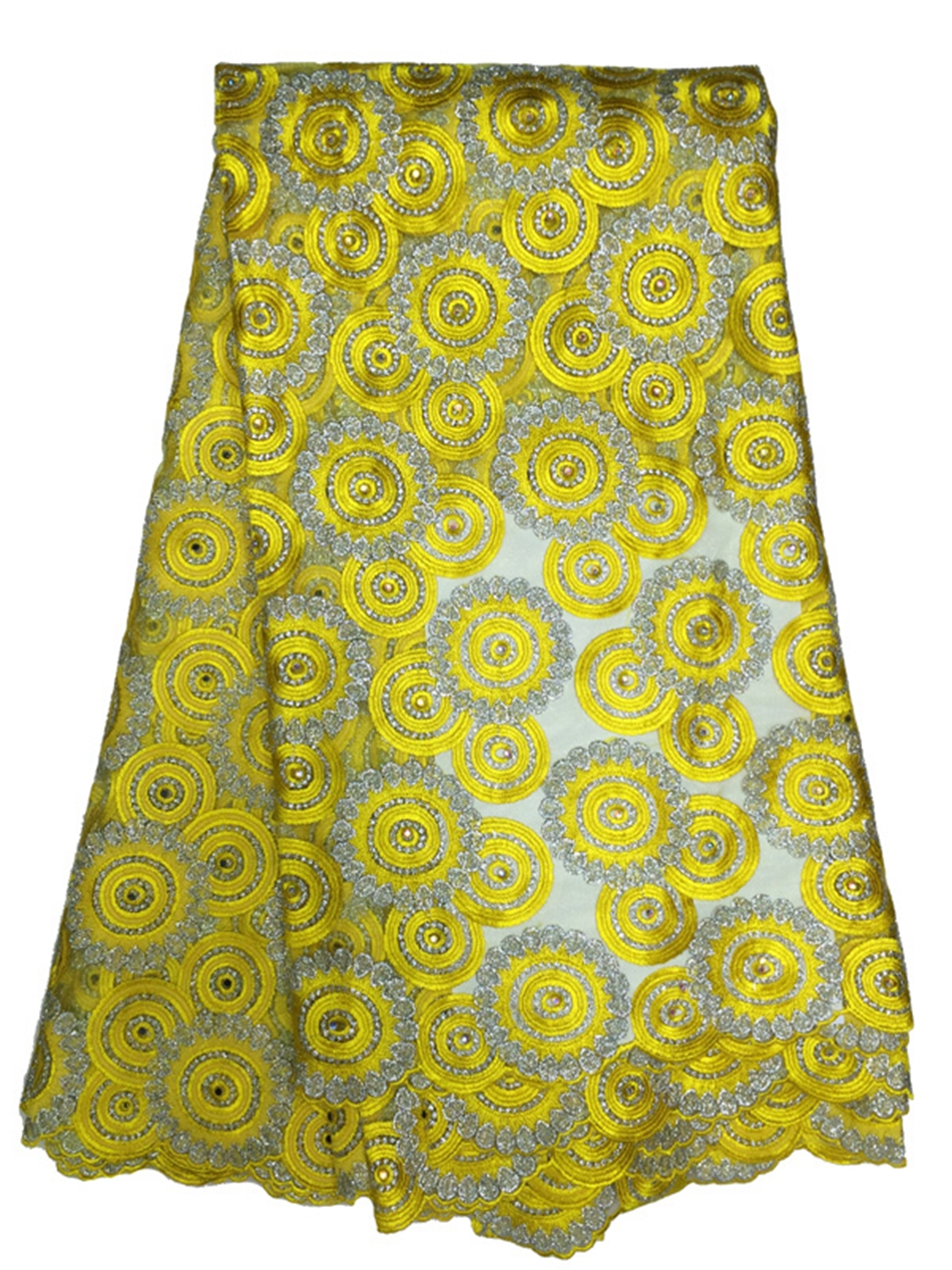 Newest sequin fabric embroidered yellow french lace yard