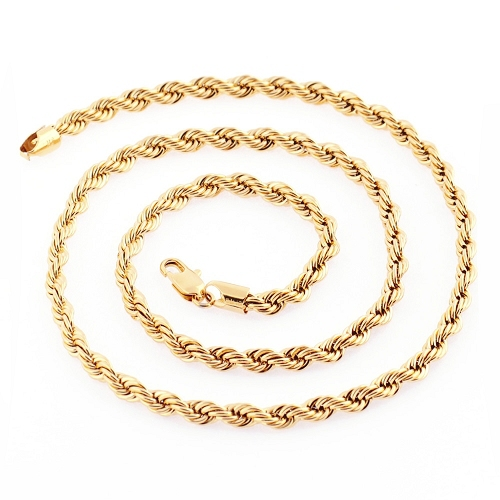 610mm 51Grams 5mm Wide Heavy Thick Sparkling Fashion Men Necklace 14k Solid Yellow Gold Filled Men's Long Necklace Chain C01(China (Mainland))