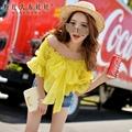 dabuwawa 2016 female t shirt summer slim fashion sweet sexy patchwork bow puff sleeved vintage t