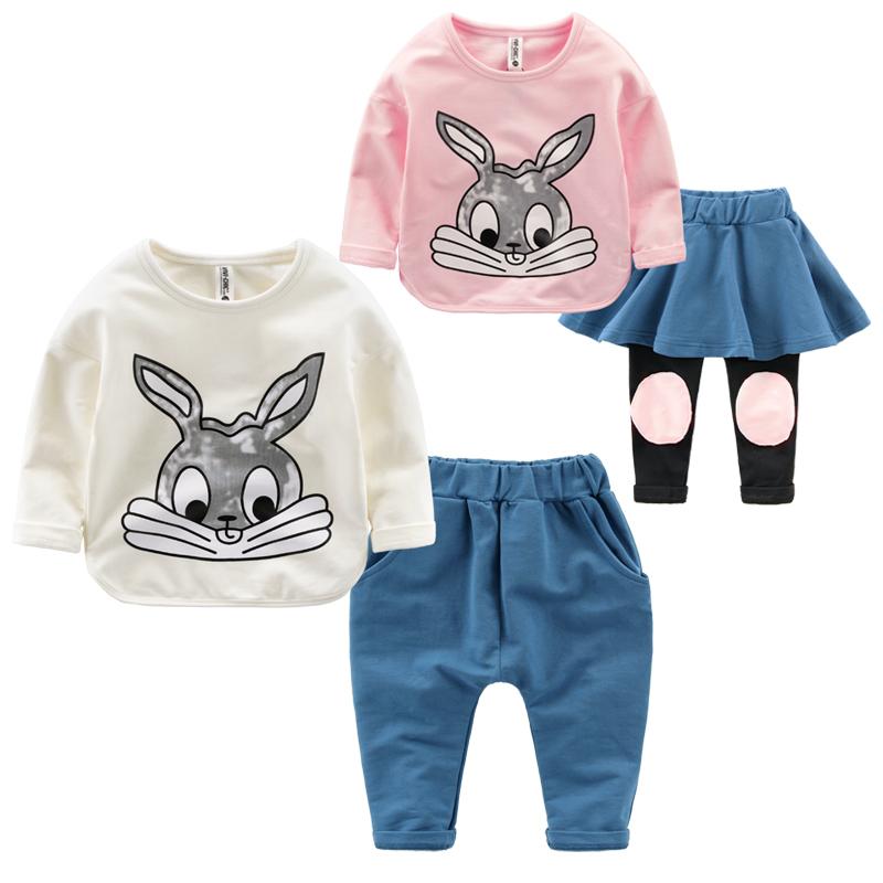 2015 sets rabbit Set Baby Boy minnie kids clothes girls clothing sets baby girl cartoon t-shirt+ skirt 2pcs set(China (Mainland))