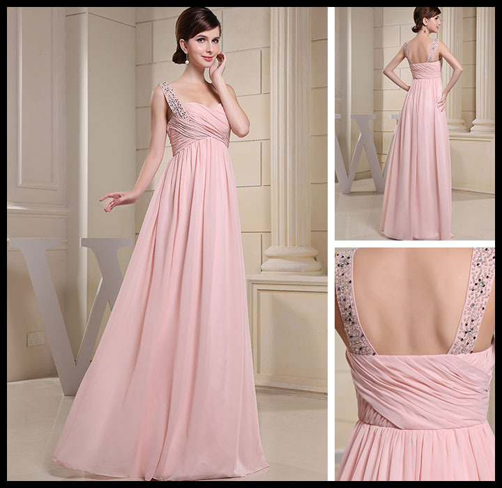 Elegant A-Line Sweetheart Neck Empire Waist Evening Dress Spaghetti Strap Beading Prom Dresses Floor-Length Wedding Party Gown(China (Mainland))