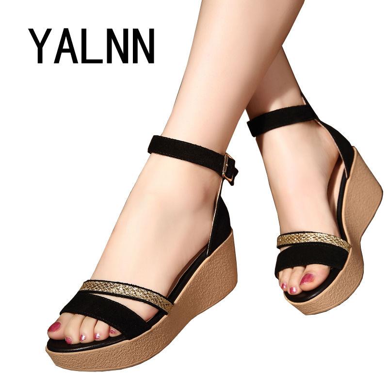 Fashion Sandals Women Summer Shoes 2017 Wedges Open Toe Thick Heel Mujer Soft Women Platform Sandals High Heeled Roman Sandals(China (Mainland))