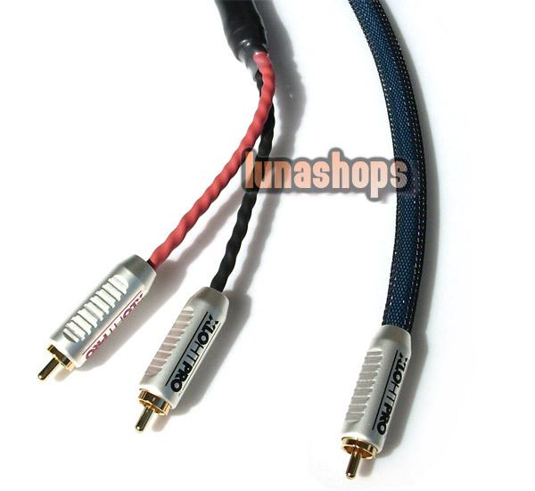 1 RCA AV Male To 2 Female Y Splitter Video Audio LC-OFC Copper Hifi Cable Adapter<br><br>Aliexpress