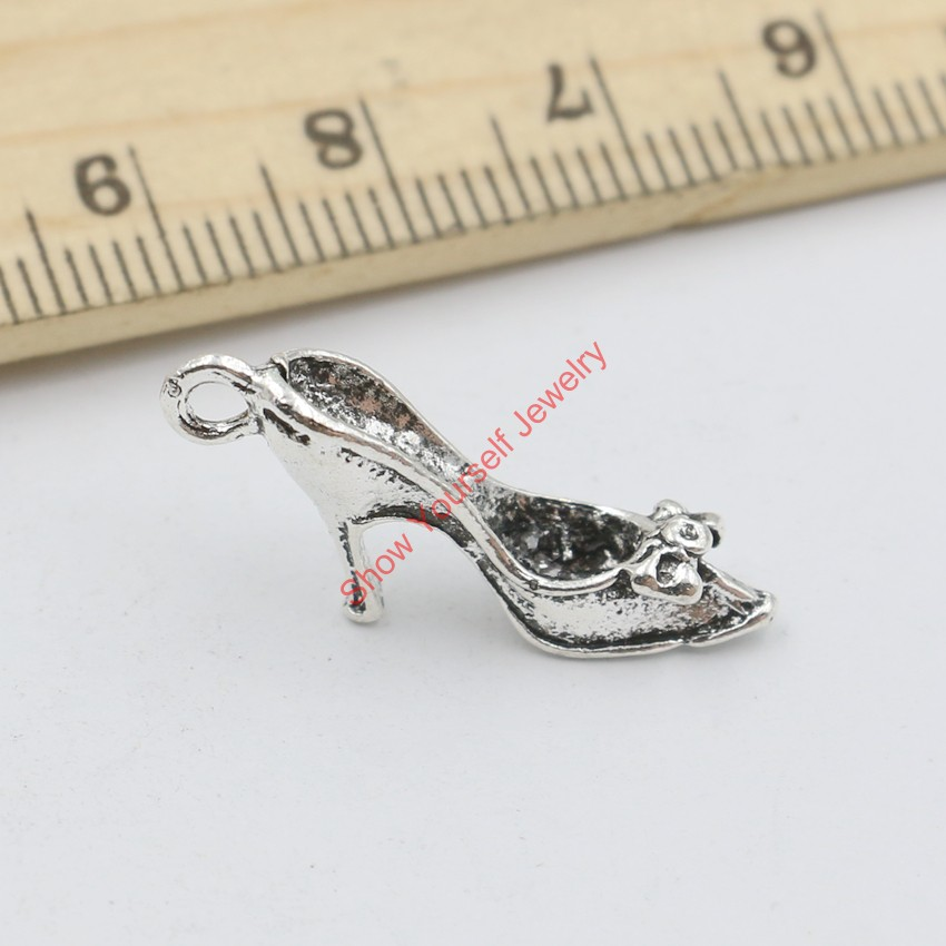 20pcs Antique Silver Plated High Heel Shoes Charms Pendants for Jewelry Making DIY Handmade Craft 15x26mm(China (Mainland))