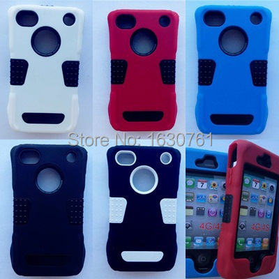 For iphone 4 4S Hot Design High Quality Silicone and Plastic Heavy for iphone 4 4s Hard Protector Cell Phone Cover Case(China (Mainland))