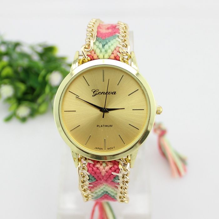 2015 New fashion handcrafted Woven quartz watch geneva brand gold dial clock women casual wristwatches relojes coupon ST0343(China (Mainland))
