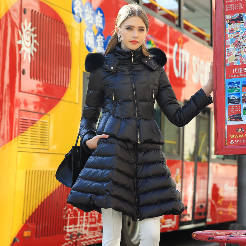 Brand New 2015 Winter Duck Down Coats Women Loose Long Fur Hooded Jacket Plus Size Long Sleeve Warm Thick Down Parkas Overcoat