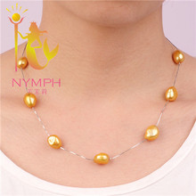 NYMPH big natural real Pearl necklaces, 11-12MM freshwater pearls, 925 sterling silver chunky necklace,gift for girlX112(China (Mainland))