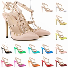 Fashion rivets shoes high-heeled pointed toe hasp thin heels sandals rivet valentin pointed toe shoes female sandals 302-5PA(China (Mainland))