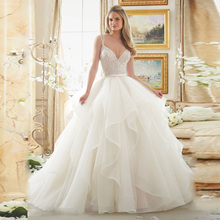 Vestido de noiva Luxury Tube Top Beading Crystals Bride Wedding Dress 2016 Organza Wedding Ball Gown(China (Mainland))