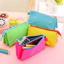ND 07 Korea Men And Women Three Layers Will Capacity Zipper Pencil Case Concise Canvas More Function Stationery Pencil Case