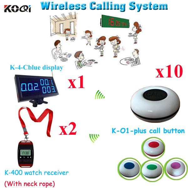 Wireless Paging System Long Range Ycall Hotel Table Bell With Watch (1pcs display + 2pcs watch+10pcs call button)(China (Mainland))