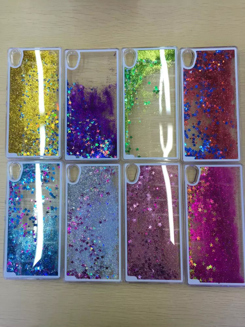 Quicksand Star clear Style Dynamic Liquid Glitter Sand Quicksand Star Case for Sony Xperia Z5 phone Back Cover Shell(China (Mainland))