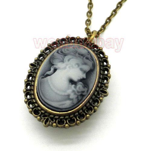 Bronze White Lady Beauty Quartz Pocket Watch Necklace Pendant Girl Women P62