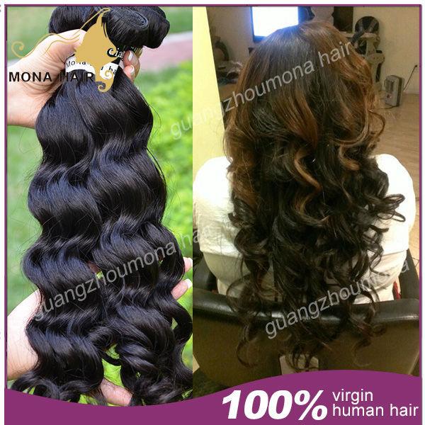 100% 7a indian human hair natural wave FREE SHIPPING 2pcs/lot full cuticle raw indian hair unprocessed virgin indian hair weft(China (Mainland))