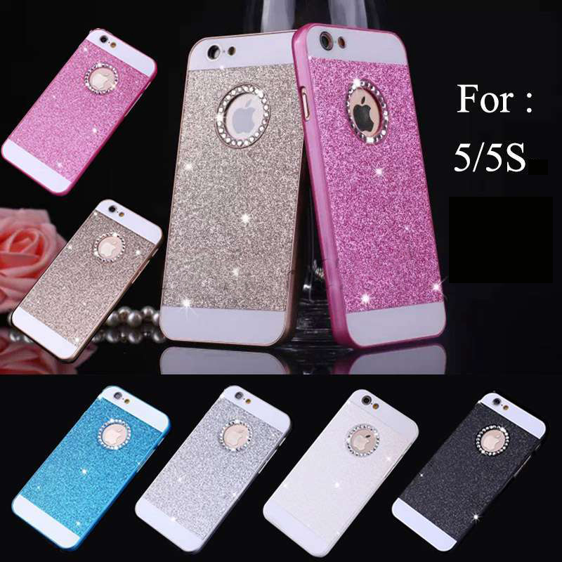 2015 Hot Bling Logo Window Luxury phone case for iPhone 5 5S 5c 5G Shinning back cover Sparkling case for iPhone 5 free shipping(China (Mainland))