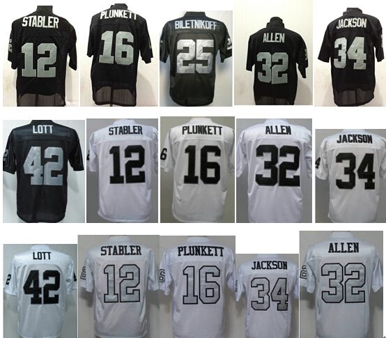 34 Bo jackson jersey Marcus Allen Jersey Howie Long jerseys Jim Plukett football Retired Player Vintage Jersey(China (Mainland))