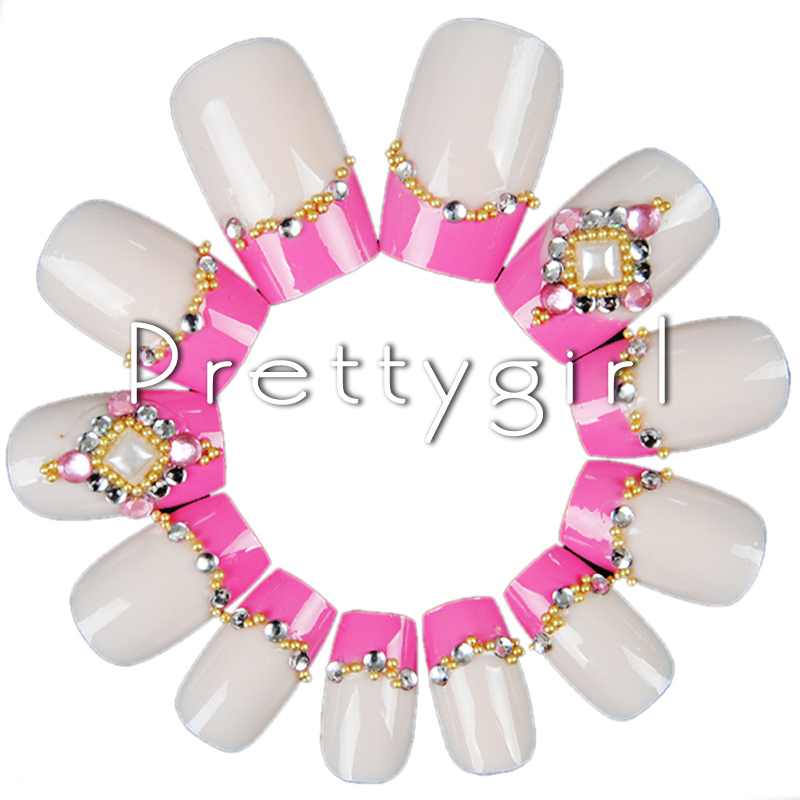 New arrival artificial nails plastic nails Tips Pink and White Color french Tips Unbranded for nail Designs DIY 2512(China (Mainland))