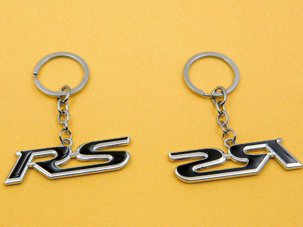 1pcs Top Selling Metal car logo keychain / mini car keychain / automatic car key ring gadget -- suitable for RS Black font(China (Mainland))