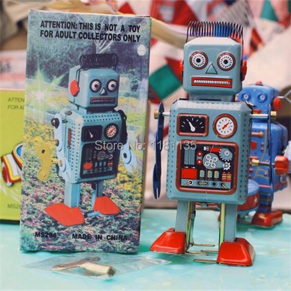 Interesting Wind Up Walking Radar Robot Tin Toy Retro Vintage Gift Mechanical Clockwork Kids Free Shipping(China (Mainland))