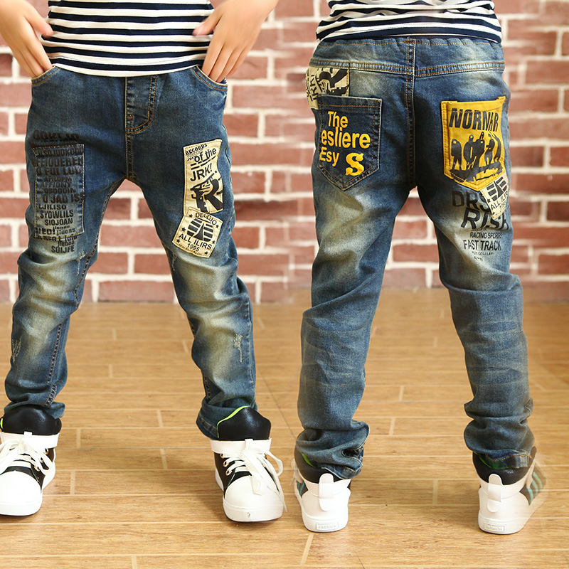 New Fashion boys jeans with letter print 2016 spring autumn good quality jean kids for age 3 4 5 6 7 8 9 11 12 13 years old B080(China (Mainland))