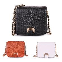 New European Fashion Crocodile Shoulder Bags Vintage Style Leather Women Chain Messenger Bags Crossbody Bolsas BB0936