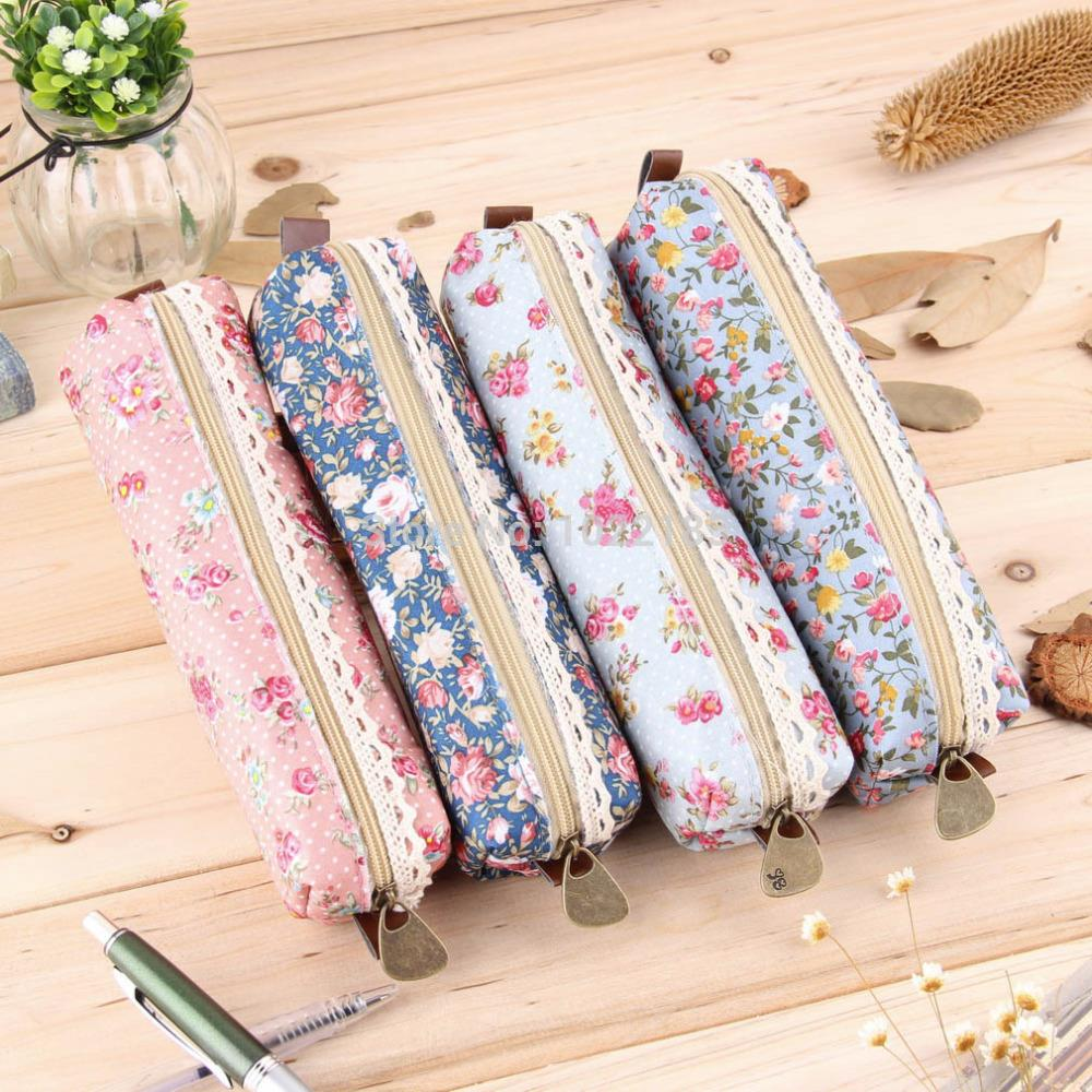 Girls Polka Dot Flower Lace Floral Pencil Case Pen Bag Purse Cosmetic Makeup Pouch Bag(China (Mainland))