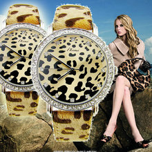 super luxury sexy girl ladies women quartz watch dress style fashion leopard print leather diamond face wrist watch Japan MOVT