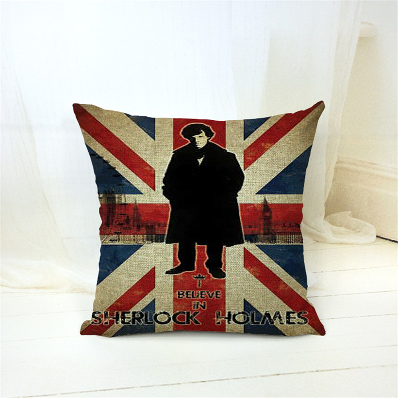 Square Linen Home Decorative Union Jack US Flag Pillow Cases Cushion Cover Decorative Sofa Pillow Cover