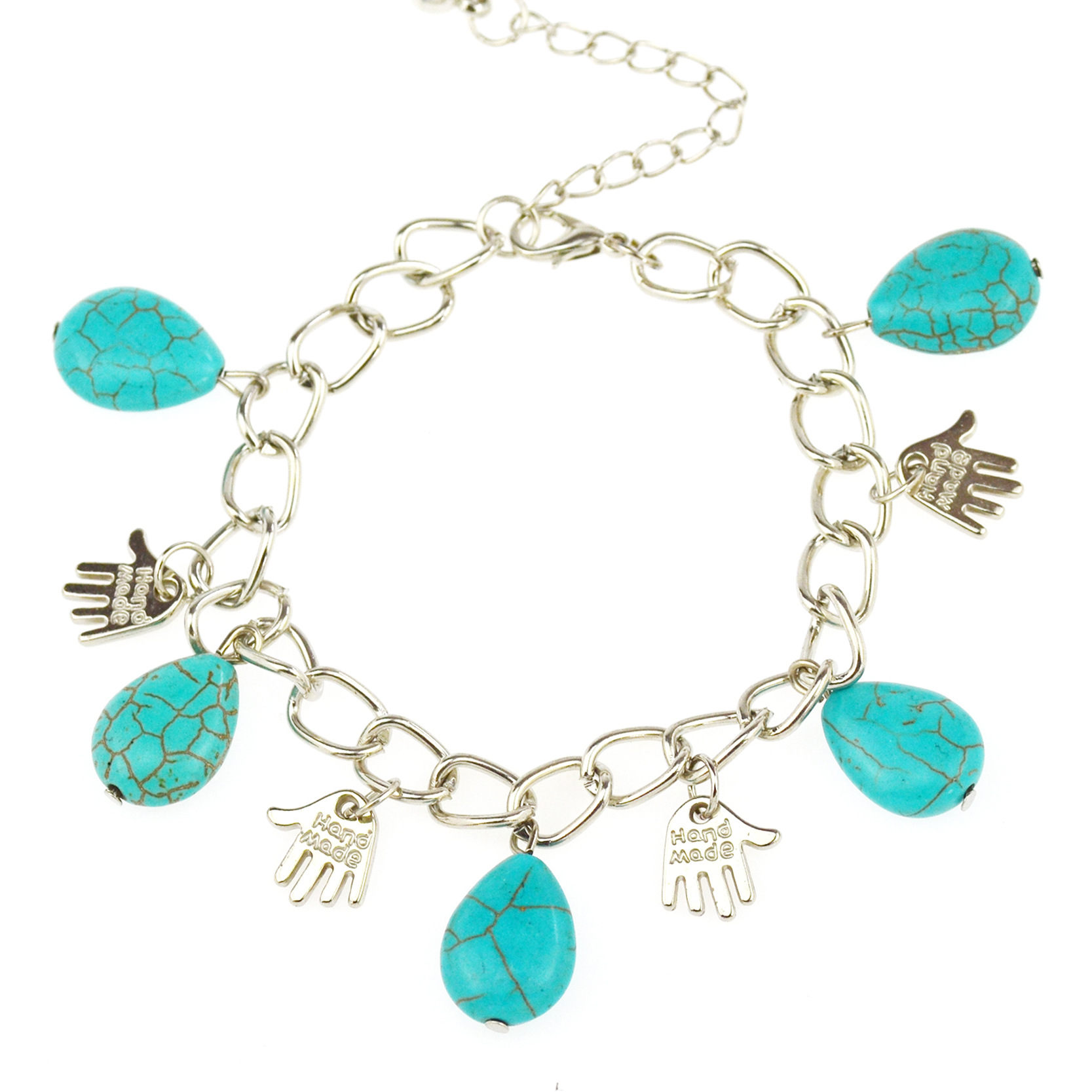 Speed sell ton source Europe and the United States jewelry wholesale Personality pendant turquoise bracelets J1499 restorin anc(China (Mainland))