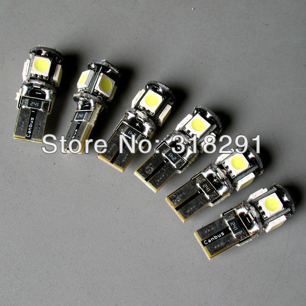 Wholesale 50pcs/Lot Canbus T10 5smd 5050  LED car  Light + Canbus NO OBC ERROR White12v
