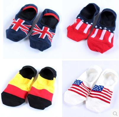Летний стиль человека национальный флаг лодка носки 2015 новинка британский флаг германии невидимые короткие носок баскетбол спортивные носки