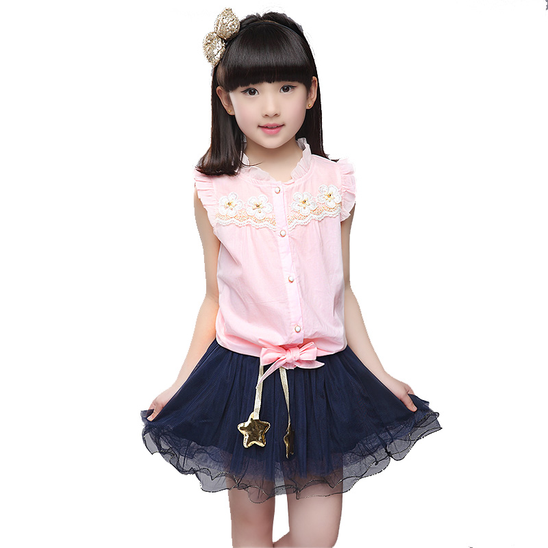 Kids clothes brand girl Floral Sleeveless children clothing set baby girls outfit Single Breasted girls dresses summer 2016(China (Mainland))