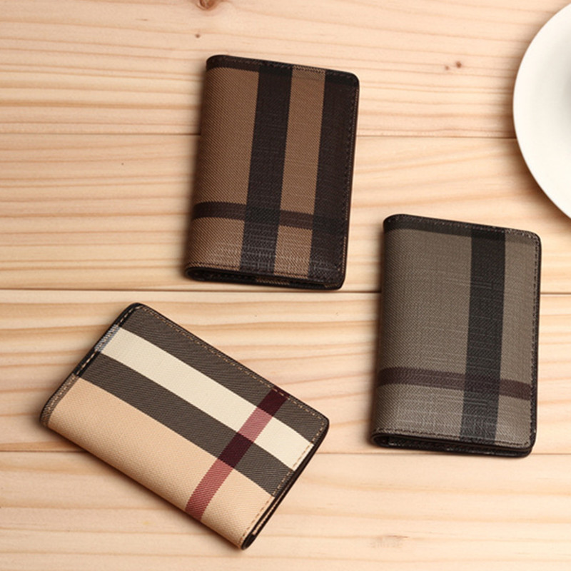 Men Mini wallet 3 Colors fashion Classic font b Plaid b font Design bank Card ID