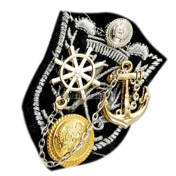 W7Tn Navy Tassels Rudder Badge Multifunction Ship Anchor Epaulet Brooch Fashion(China (Mainland))