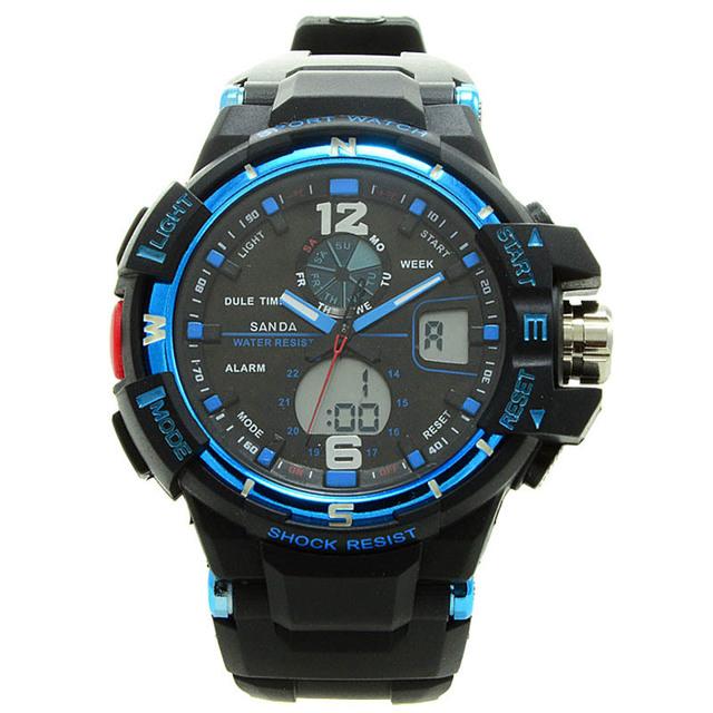 Санда S анти-шок люди вахты спорта цифровые из светодиодов часы свободного покроя военная многофункциональные наручные 5ATM водонепроницаемый кварцевые часы