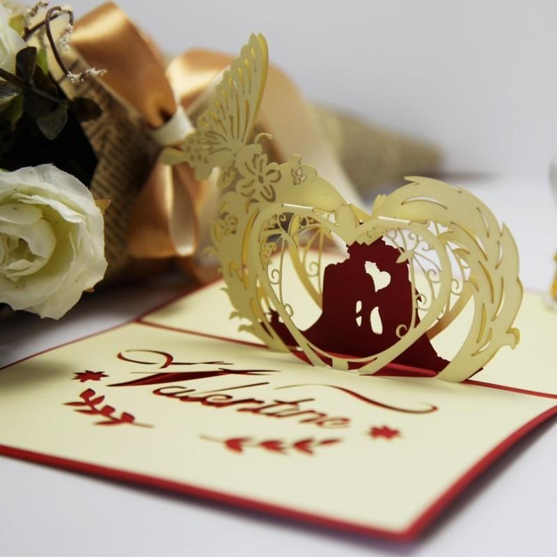 year 2013 laser cut 3d pop cards special wedding invitations paper art decoupage Valentine love heart envelope - Ivy trade company ltd store