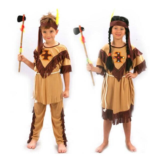 Childrens Kids Boys Girls Indian Princess Dress Costume Boy Soldiers Warrior Fancy Dress(China (Mainland))