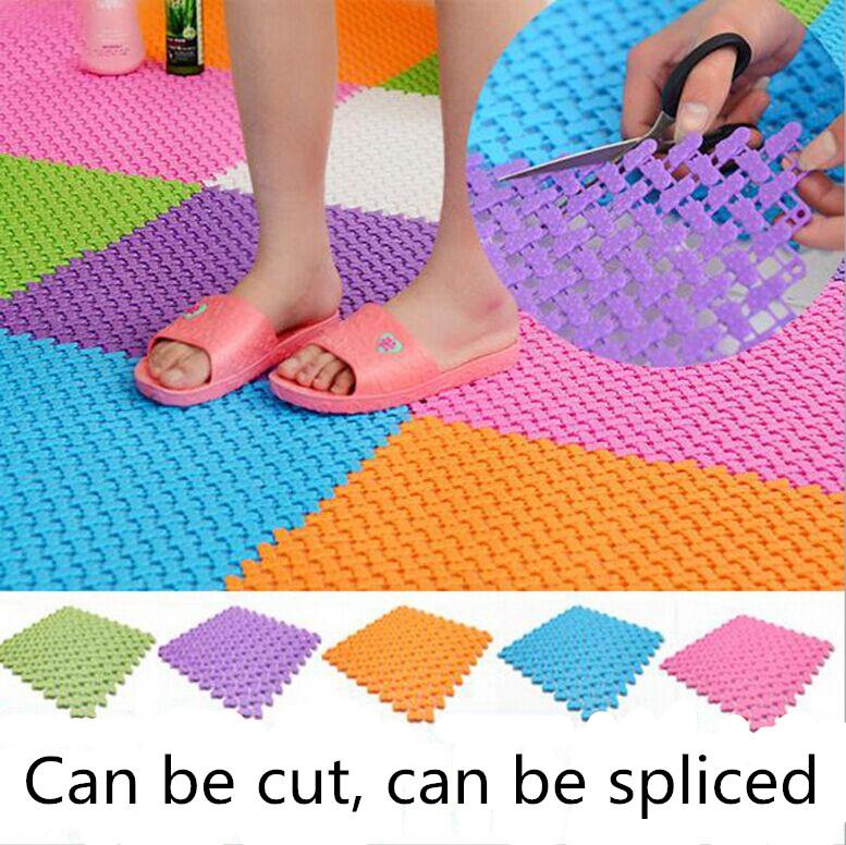 DIY carpet 24*24cm Candy Colors Plastic Bath Mats Easy Bathroom Massage Carpet Shower Room Rubber Non-slip Mat Tapis(China (Mainland))