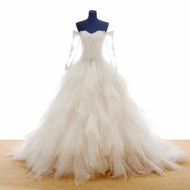 Real vestido de noiva boat neck ball gown wedding dresses for Boat neck long sleeve wedding dress