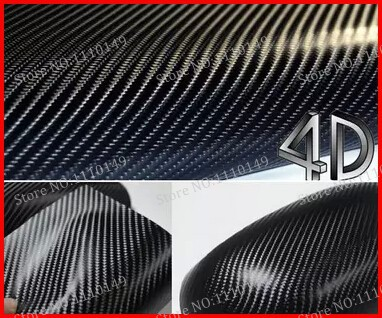 1 pc Black 1.52MX50CM 4D carbon fiber vinyl film , Texture Black 4D carbon fiber car sticker with bubble free FREE SHIPPING(China (Mainland))