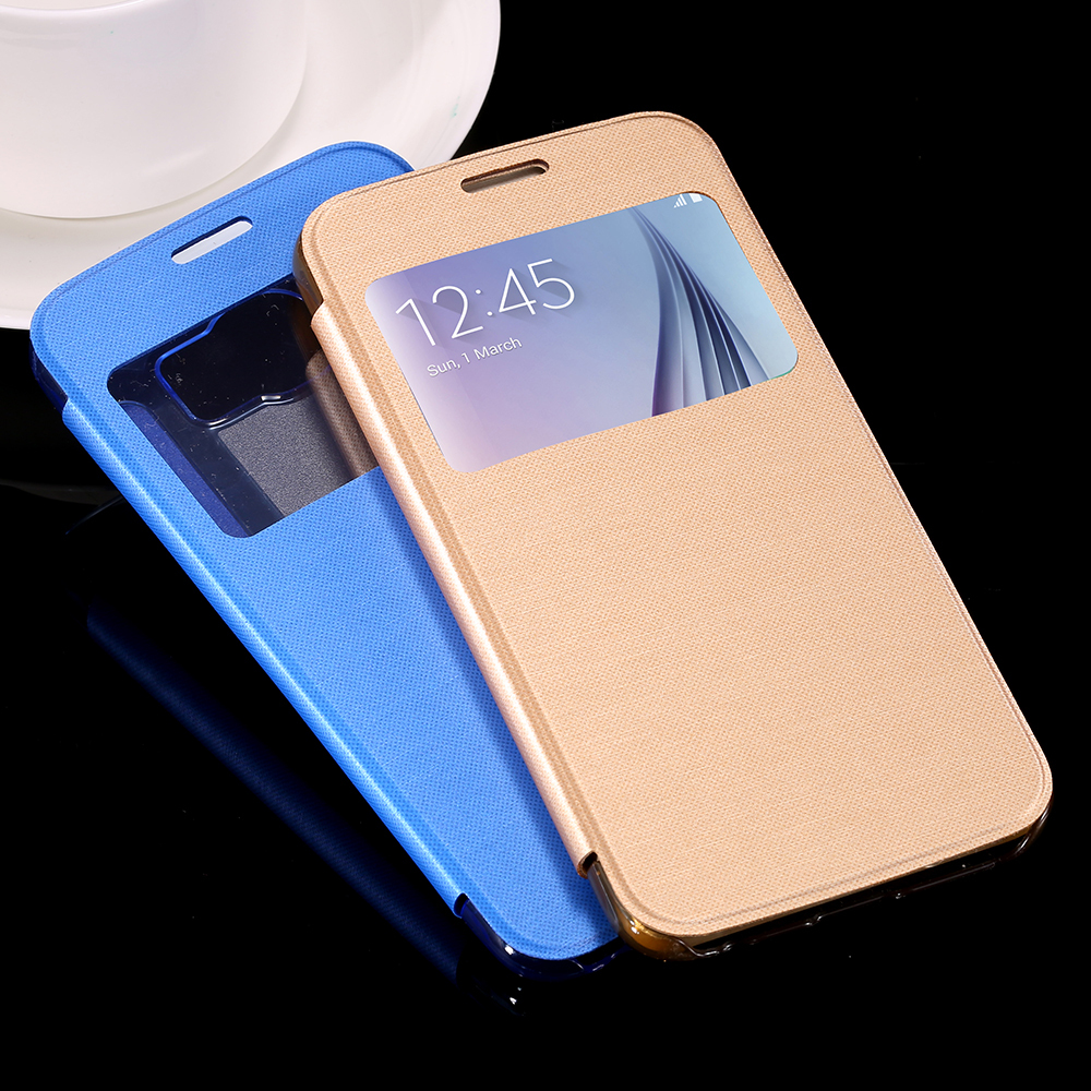 High Quality Luxury Window View Flip Leather Case For Samsung Galaxy S6 Edge G9250 Hard Clear Full Phone Back Cover Bag S6 Edge(China (Mainland))