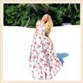 к 2015 году летних женщин шифон макси длинные платья новой моды-лишен печати Винтаж 0-шеи платье