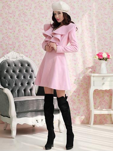 DA23 Топ элегантной Леди стиль мягкий твердый глубокий цветок лацкан пальто и пиджаки мода пальто