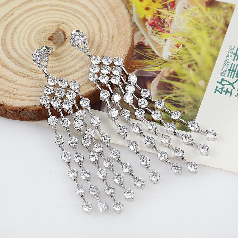 Top Fashion Style Jewelry 18k Gold Plated Long Earrings, AAA CZ Dangle Drop Earring, Big Earring for Woman (BR)BY-ED-134<br><br>Aliexpress