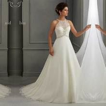 Chiffon And Satin Fabric A-Line Wedding Dress Halter Lace and Embroidery Beading Sleeveless Long Gowns Bridal Wedding Dresses(China (Mainland))