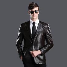 High quality Genuine leather clothing male sheepskin suit men's slim  leather jacket suit  abrigo de cuero manteau de cuir(China (Mainland))