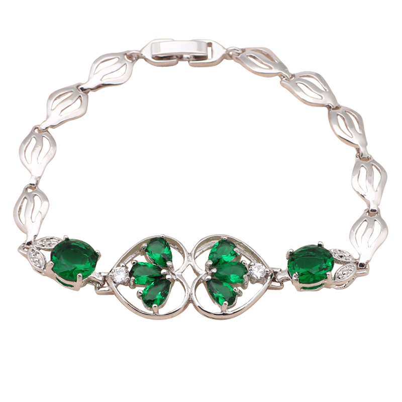Excellent Deep green cubic charm watch Bracelets for women Lowest price Zirconia K white Gold Plated fashion jewelry TB561A(China (Mainland))